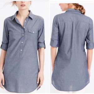 J Crew XS Roll-Tab Sl Chambray Popover Long Tunic